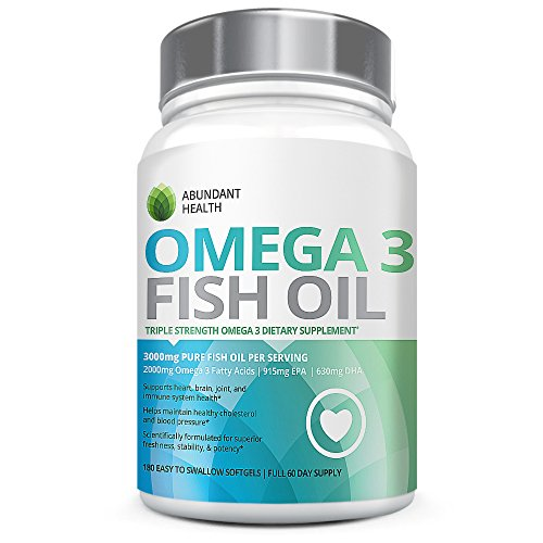 Abundant health omega 3 3000mg fish oil pills 180 for High dha fish oil